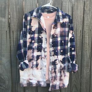 Upcycled distressed bleached flannel size XL